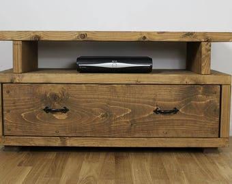 Chunky Handmade Solid Wood Tv unit media cabinet V3 ~ Oak Finish ~ solid wood units ~ made in th UK ~