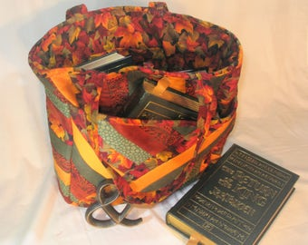 Fall Print Handmade Quilted Bag, Quilted Tote, Book Bag, Autumn Leaves, Purse, Tote, Travel Bag, Carry-on