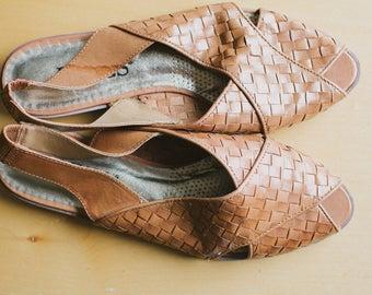 Vintage Woven Leather Women's Sandal Size 6