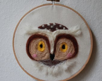 Owl Needle Felted Wall Art