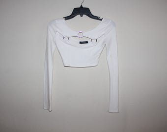 White or Black Long Sleeve Crop Top Small