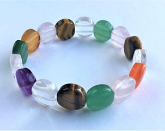 Multicolored Nature Gemstones Bracelet (Elastic Band)