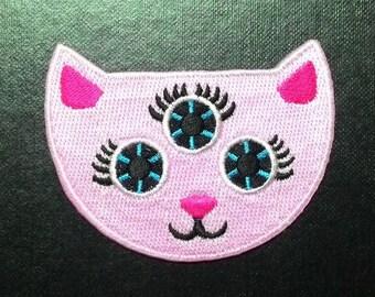 Cute Demon Pink cat three eyes patch.