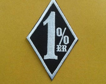 Embroidered 1% ER iron on patch.