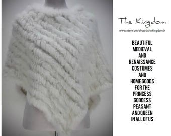 Guinevere Rabbit Fur Wedding Cape/Real Rabbit Fur/Medieval Renaissance Viking Bride/Costume/Genuine Fur Stole Wrap Shawl Poncho/The Kingdom