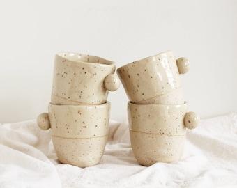 Speckled Stoneware Mugs - Set of 4 | Handmade Ceramic Coffee Mug, Pottery Cups, Dinnerware, Tea Cup, Ceramics, Servingware, Handle, Pom poms