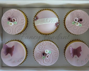 12 Edible Fondant Easter Mothers Day, Party  Cupcake Topper Decorations