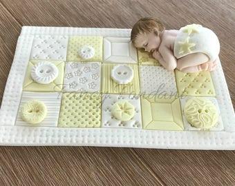 Edible Fondant 3D Baby Cake Topper baby shower christening first birthday