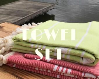 SetOf 2pc, Turkish Towel, Turkish Bath Towel, Turkish Beach Towel, Bath Towel, Beach Towel, Hammam Towel, Turkish Pestemal, Cotton