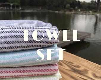 setof 4pc turkish towel turkish bath towel turkish beach towel bath towel