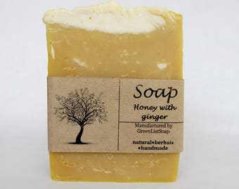 Honey Soap  with ginger, unscented soap, handcrafted soap, coldprocess soap, soap making, rustic soap, organic soap, herbal soap, natur soap