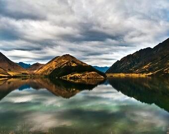 Landscape Photography Prints, New Zealand Lakeside, Mirrored
