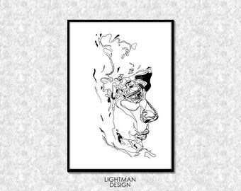 Exlusive line art. Digital Print.