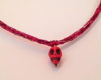 Red Skull Viking-Knit Wire Choker