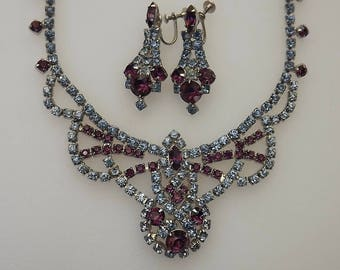 Vintage Juliana Style Rhinestone Necklace Er's Set Purple & Blue