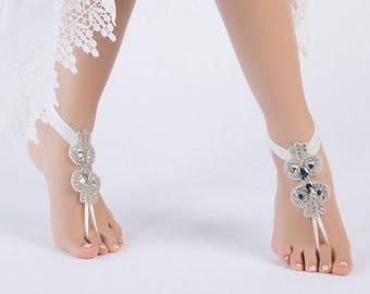 Boho chic Beach Sandals Footless Sandles Rhinestone Bridal Anklet, Flexible Ankle  Barefoot Sandals,  Beach Wedding Barefoot Sandals,