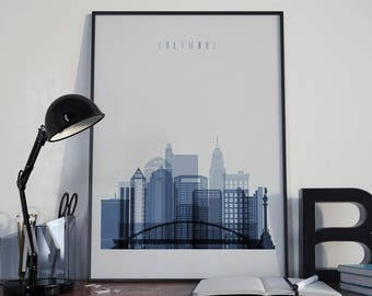Columbus Art Columbus Watercolor Columbus Wall Art Columbus Wall Decor Columbus Skyline Columbus Home Decor Columbus Multicolor Poster Print