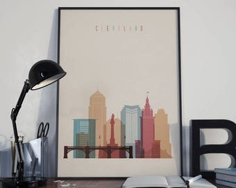 Cleveland Art Cleveland Watercolor Cleveland Wall Art Cleveland Multicolor Cleveland Skyline Cleveland Wall Decor Cleveland Poster Print