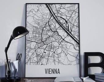 Vienna Map Vienna Travel Map Vienna Street Map Vienna City Map Vienna Map Poster Vienna Map Photo Vienna Map Print Vienna Map Art Austria