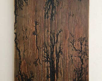 Fractal Wood burnt decor
