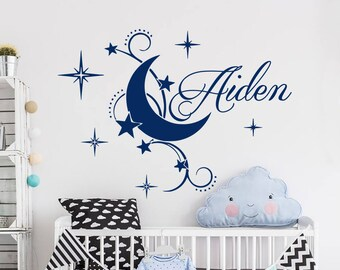 Boy Name Wall Decal Baby Nursery Wall Decal Name Nursery Vinyl Decal Moon Wall Decor Stars Stickers Decal Room Art Decor S67