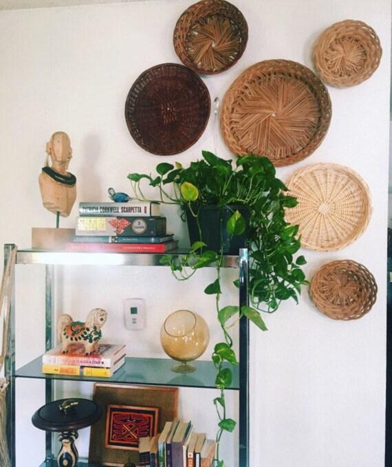 Wall Baskets, Vintage Boho Decor, Set of 6