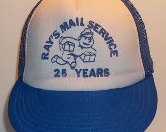 Trucker Hat Old Ball Cap Baseball Hat Vintage Snapback Hats Foam Front Mesh Back Blue/White Imperial Rays Mail Service 25 Years T25 A7148