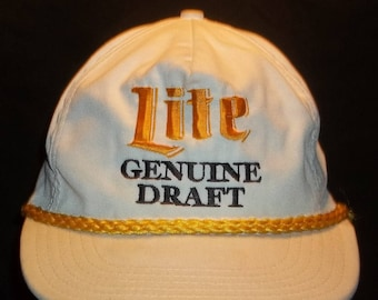 Vintage Trucker Hat Leather Strapback Hat Rope Baseball Cap Embroidered Miller Brewing Company Lite Genuine Draft Beer Ball Cap T25 A7154