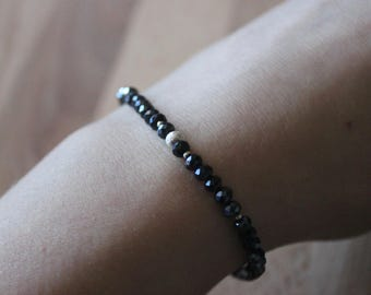 Stackable Thin Navy and Silver Beaded Bracelets