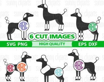 Dog Monogram Svg, Poodle Svg, Dog Svg Files, Dog Silhouette, Dog Clipart, Pet Svg, Pet Silhouette, Svg Cutting File, Cutting Dies, Png Files