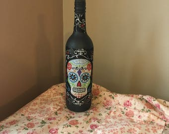 Skull Decoupage Bottle