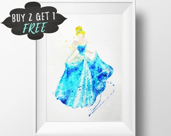 Cinderella Art Print Poster, Disney Princess Wall Art Nursery Decor Printable Watercolor Instant Download, Baby Nursery Decor Watercolor Art