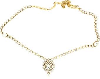 Gold Silver Kundan Saree Sari Belt Waist Chain Indian Bollywood Belt Dress Accessory Wedding