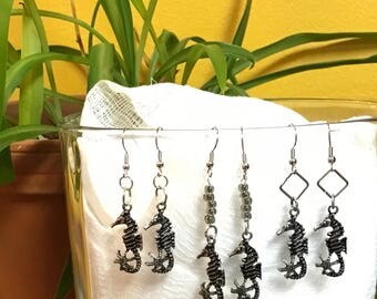 Silver Seahorse Dangle Earrings Circles Squares Diamonds Beads Ocean Horses Cute Simple Sea Fish