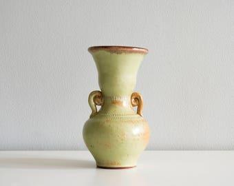 Green brown ceramic vase. Small vase.