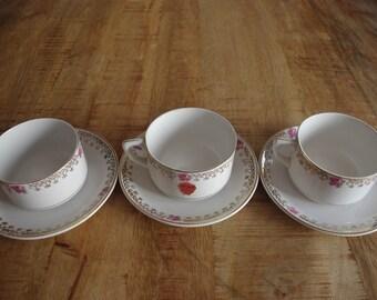 """Lot of 3 cups of breakfast """"La Asturiana""""."""