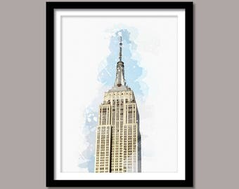 Empire State Building Print, Empire State Building Digital Print, Empire State Building Art, Landmark Printable Art, Watercolor Painting