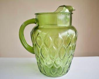 Vintage Green Colored Glass Pitcher, Flower Vase, Decor