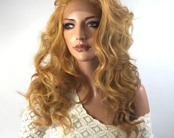 Copper Blonde' Waves Human Hair Blend Multi Parting Lace Front Wig - Poppy