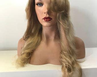 Ash Blond Full Lace Wig 20'  Human Hair Multi Parting  - 41718