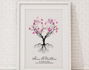 "wedding fingerprint tree guestbook wedding confirmation ""Heart tree"" 30x40cm"
