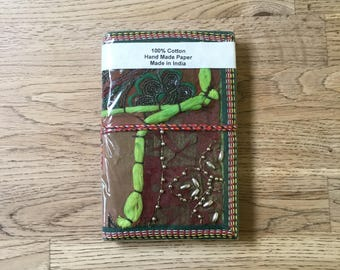 Brown embroided Indian patchwork diary (handmade recycled paper)