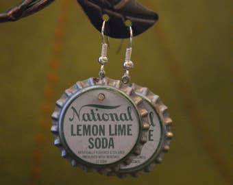 Vintage Soda Cap Earrings - National Lomen Lime