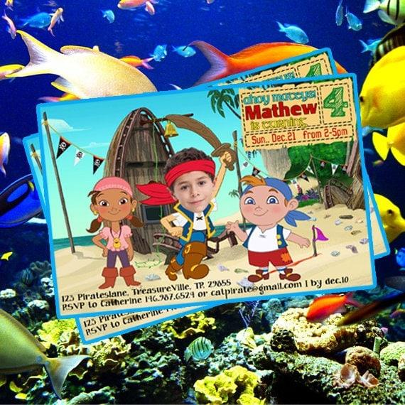 Jake Und Die Nimmerland Piraten Einladungskarte, Jake Piraten Druckbare  Einladen, Jaken Und Die Nimmerland Piraten Party Einladung