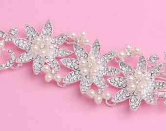 Pearl and crystal bridal hair piece