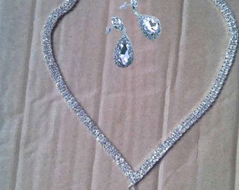 Crystal drop bridal necklace and earrings