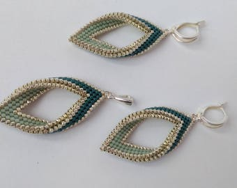 """Earrings and a pendant from beads Miyuki Delica """"Green opal"""""""