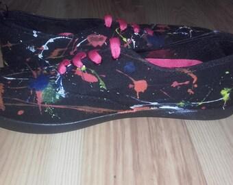 Black paint splatter lace up canvas shoes