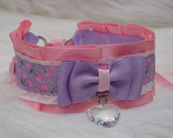 DDLG/Kitten Play Collar // Pink and Purple collar with Pink Cherries