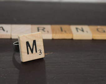 Scrabble Ring, adjustable, any letter